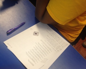 Participant Annotating and Writing Poem